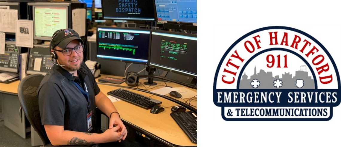 Photo of Emergency Services & Telecommunications employee at work desk and department logo