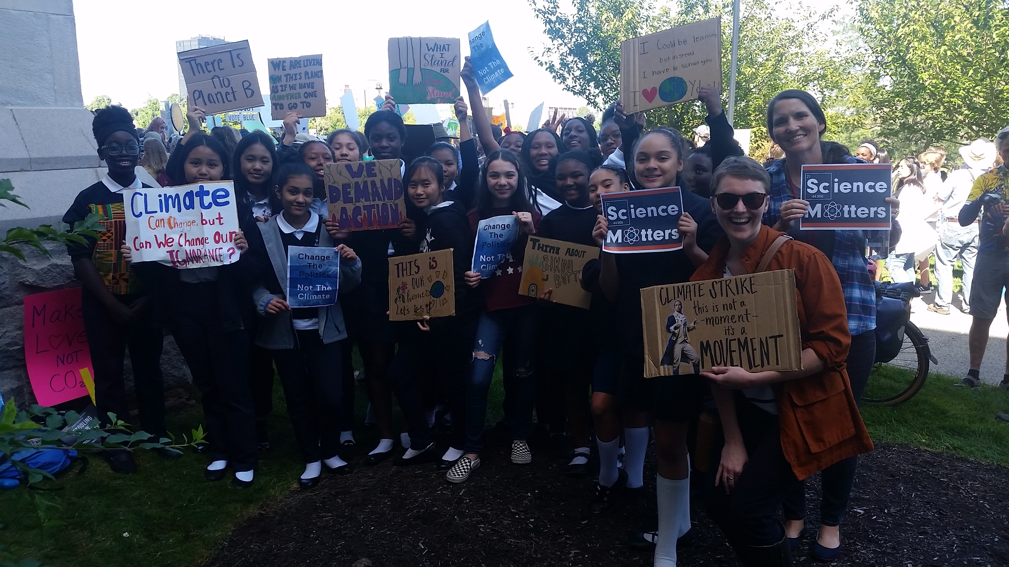 Grace Academy Students at the Connecticut Youth Climate Strike