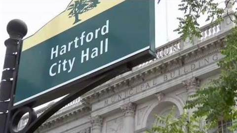 Signage in front of City Hall stating Hartford City Hall