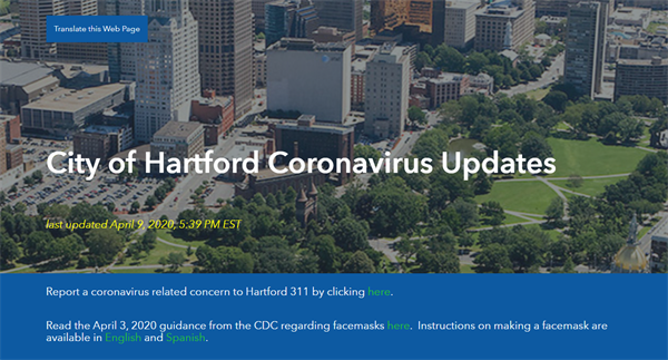 Screenshot of the City's new Covid-19 website